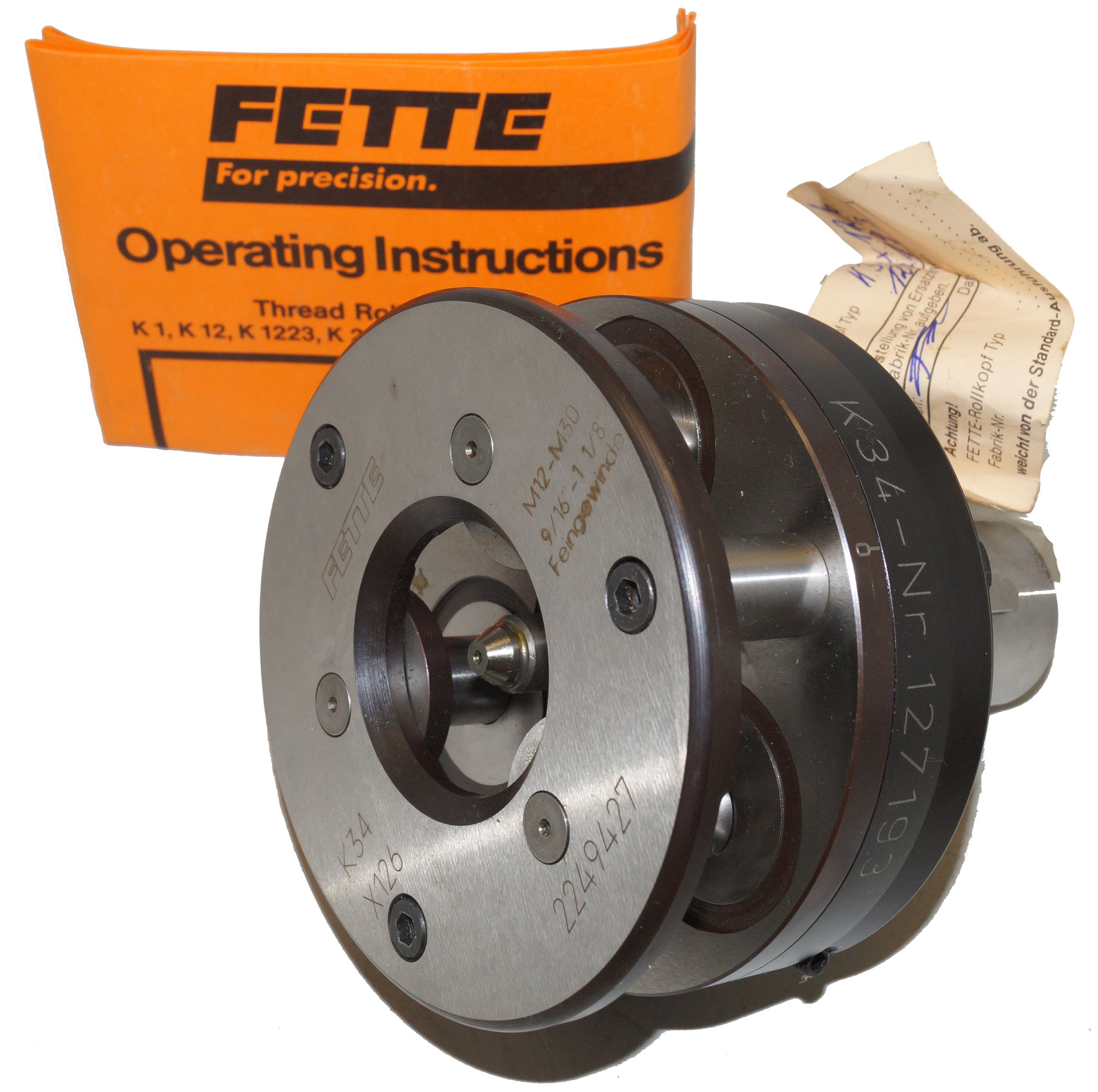 "LMT Fette K34 Axial Thread Rolling Head 9/16"" to 1-1/8"" (M12-M30)"