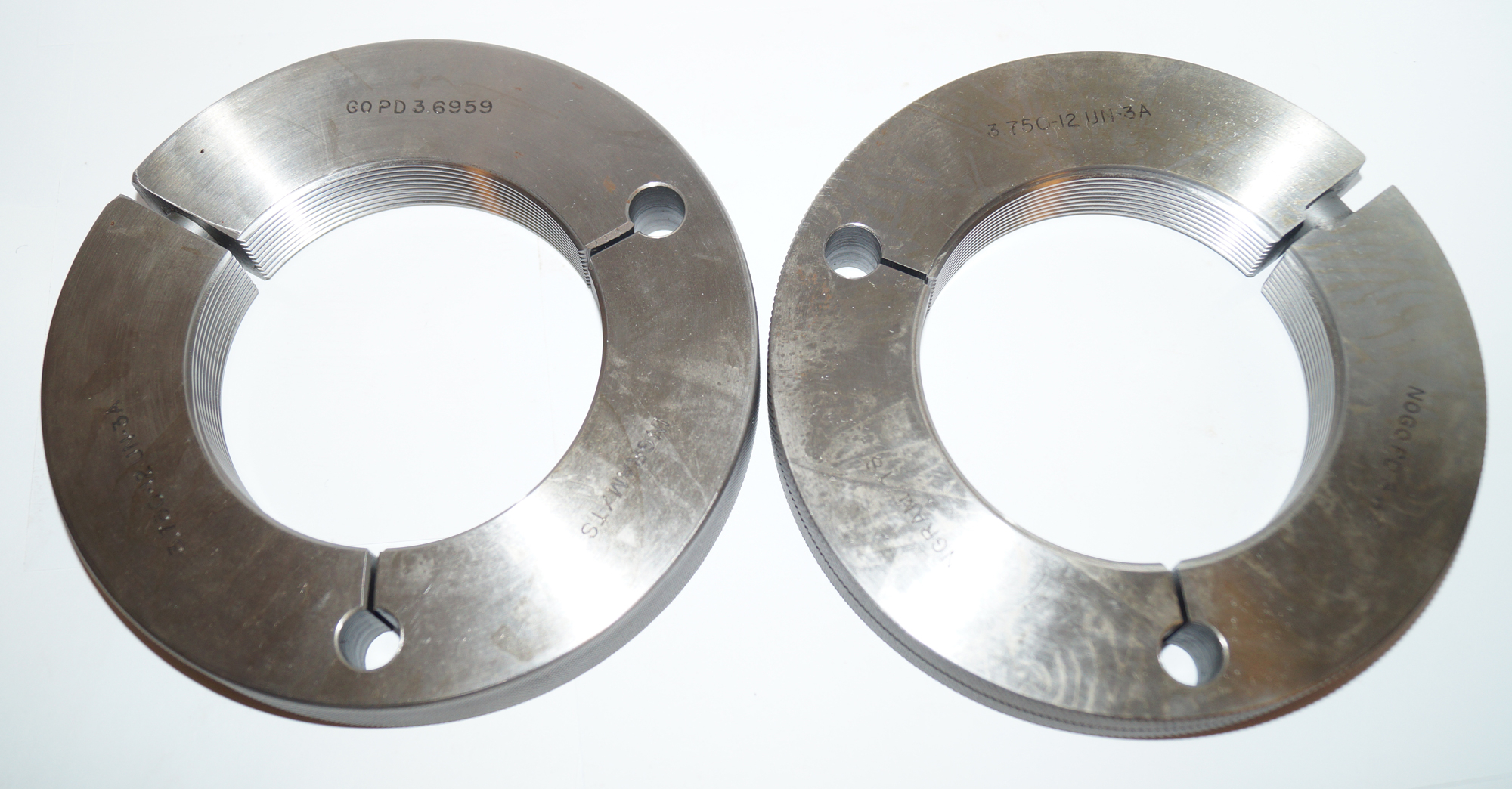 3-3/4-12-UN-3A Thread Ring Gage Set, Go NoGo 3.75""