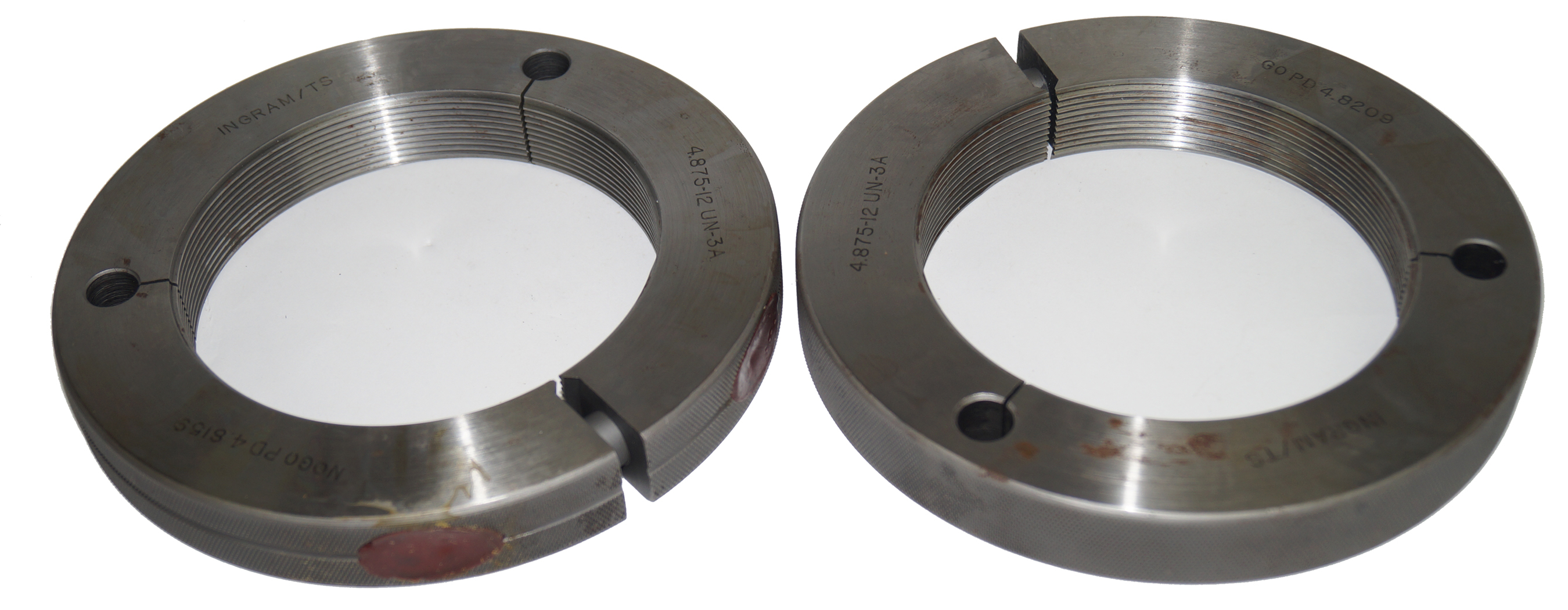 4-7/8-12-UN-3B Thread Ring Gage Go NoGo, 4.875 4.8209 4.8159