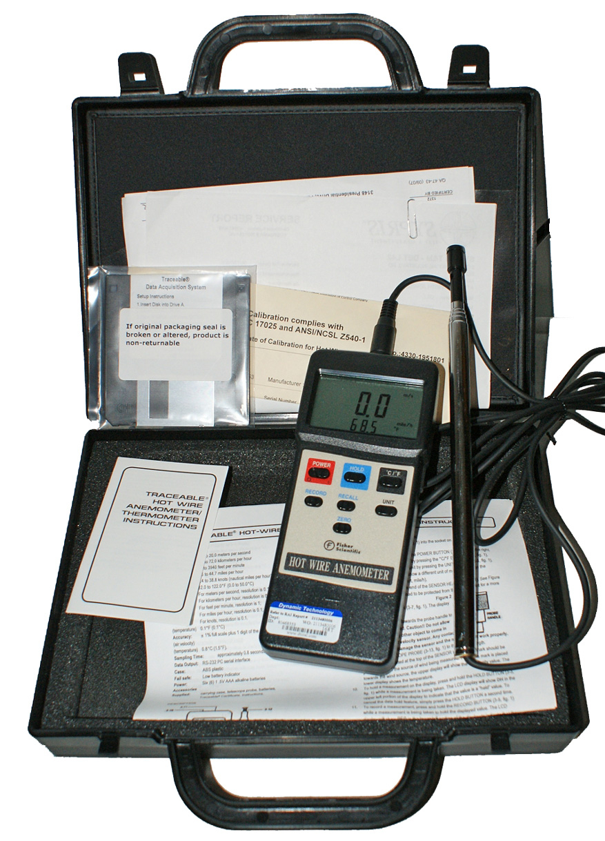 Hot-Wire Traceable Anemometer - Thermometer FS