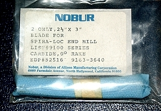 "NOBUR Spira-Loc Replacement End Mill Blades - NEW 2-1/2"" x 3"""