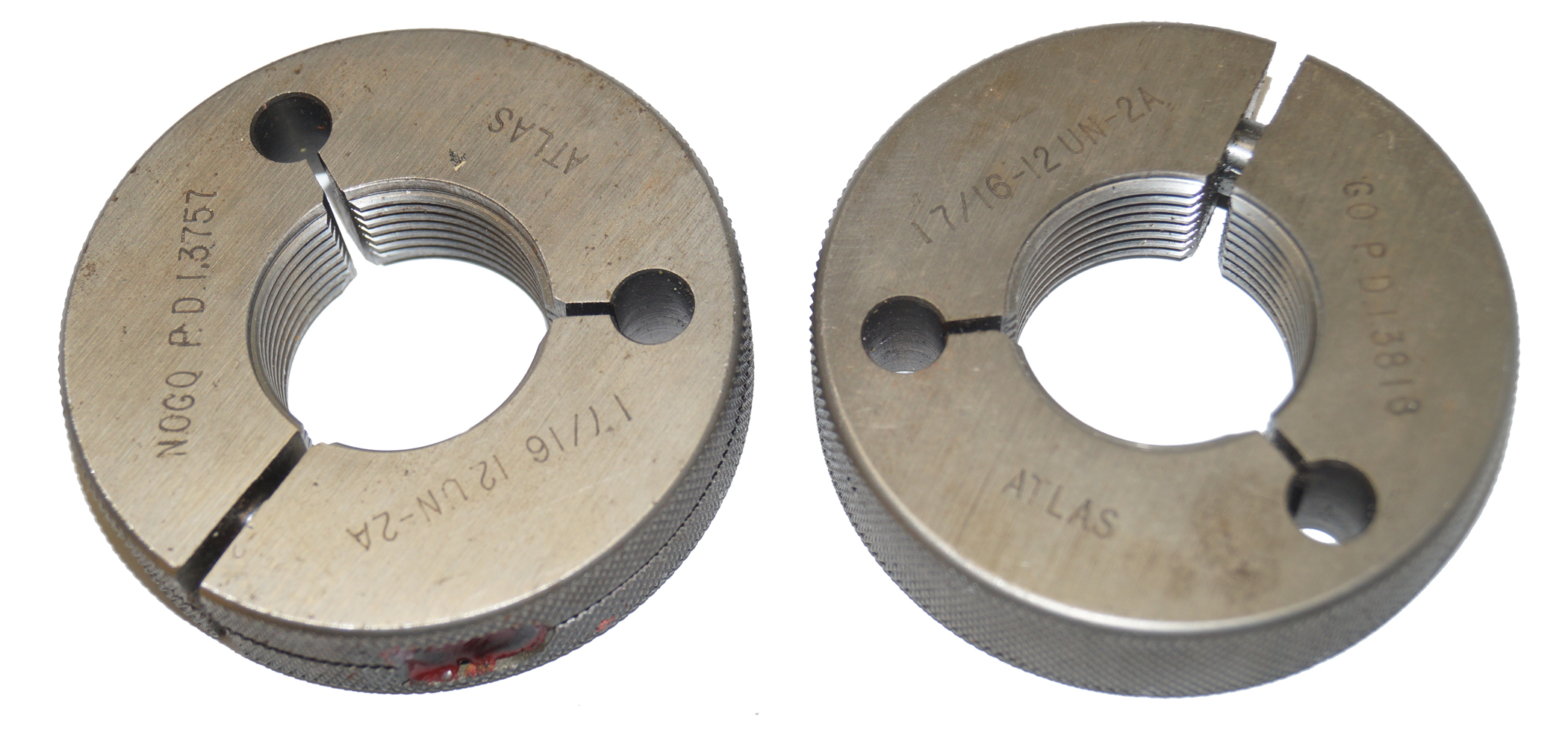 "Atlas 17/16""-12 UN-2A Thread Ring Gages, Go and NoGo"